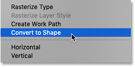 Choosing the Convert to Shape command in Photoshop
