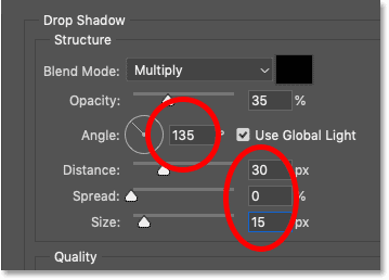 The Drop Shadow layer effect settings