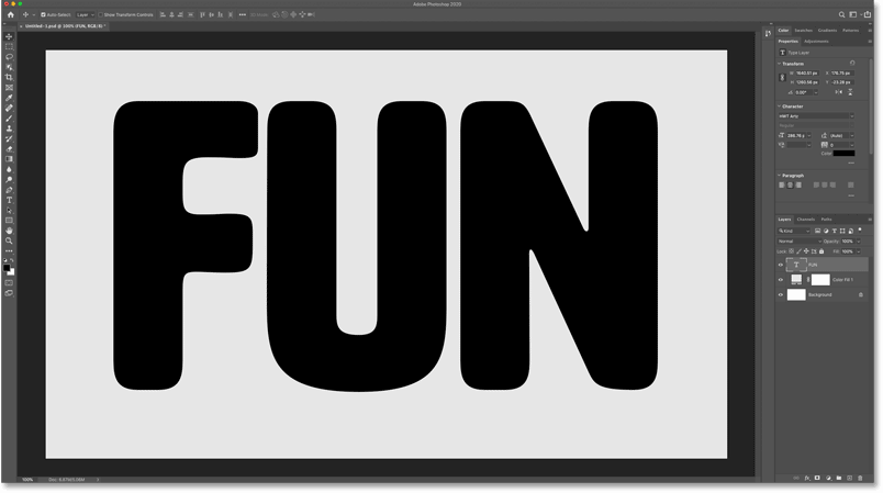 The default letter spacing after adding the text