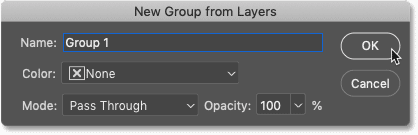The New Group from Layers dialog box in Photoshop