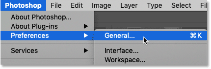Opening Photoshop's General Preferences