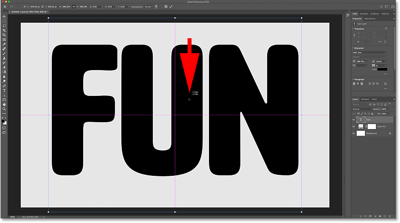 Dragging inside the transform box to reposition the text in the Photoshop document