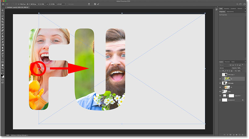 Resizing and moving the second image inside the letter with Photoshop's Free Transform command