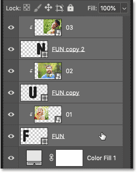 Selecting all shape and image layers in Photoshop's Layers panel