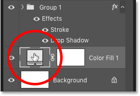 Double-clicking the fill layer's thumbnail to change the background color