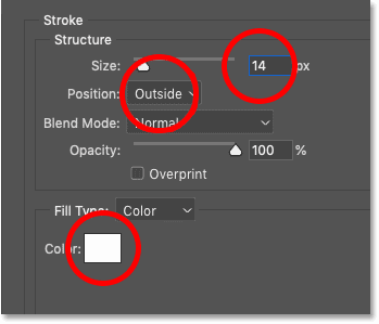 Setting the Stroke options in Photoshop's Layer Style dialog box