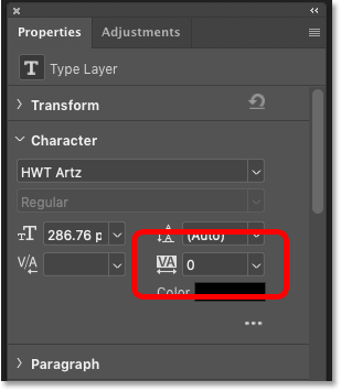 The Tracking option for the text in Photoshop's Properties panel