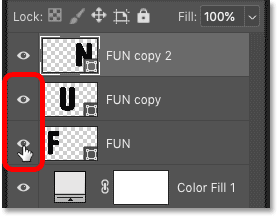 Turning on all three shape layers that make up the word in Photoshop's Layers panel