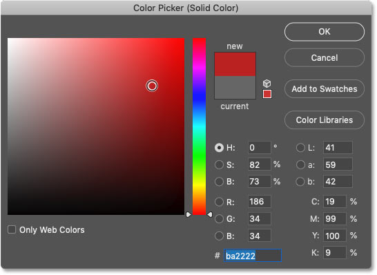 Choosing a new background color from Photoshop's Color Picker