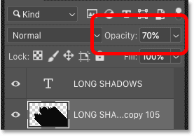 Lowering the opacity of the shadow layer in the Layers panel