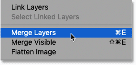 Selecting the Merge Layers command