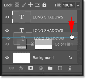 Dragging the copy of the type layer below the original in Photoshop's Layers panel
