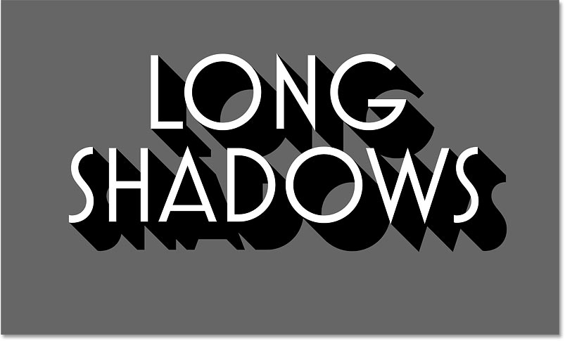 The long shadow effect in Photoshop using 100 copies of the black text