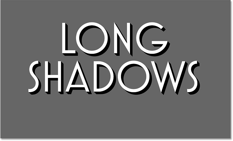 The long shadow effect using 20 copies of the black text in Photoshop
