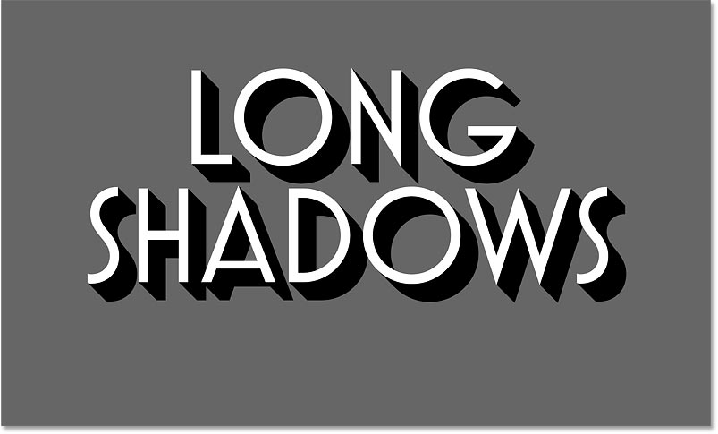 The long shadow effect in Photoshop using 50 copies of the black text