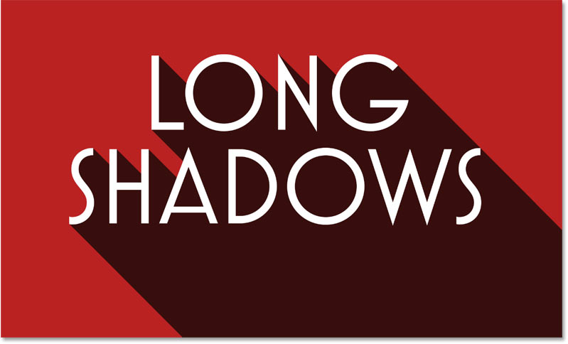 The long shadow effect using red as the background color
