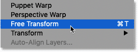 Selecting the Free Transform command in Photoshop's Edit menu