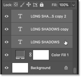 Shift-clicking on the original black type layer.
