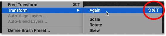 Viewing the keyboard shortcut for Photoshop's Transform again command