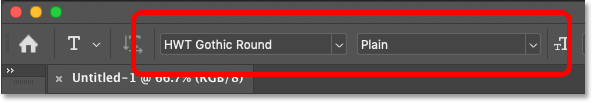 Choosing a font in Photoshop's Option Bar