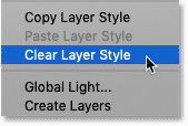 Selecting the Clear Layer Style command in Photoshop