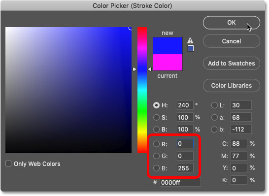 Setting the color of the second stroke to blue in Photoshop's Color Picker