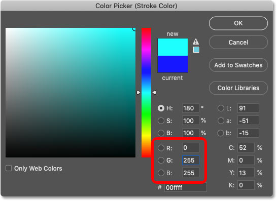 Setting the color of the third stroke to cyan in Photoshop's Color Picker
