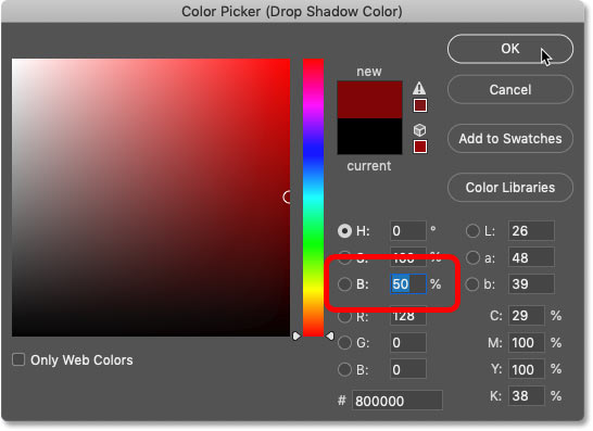 Lowering the brightness of the sampled color in Photoshop's Color Picker