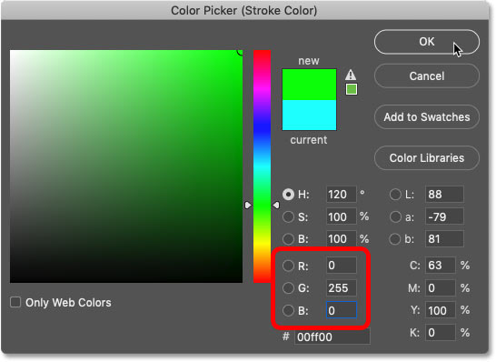 Setting the color of the fourth stroke to green in Photoshop's Color Picker