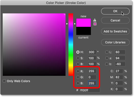 Choosing magenta in Photoshop's Color Picker
