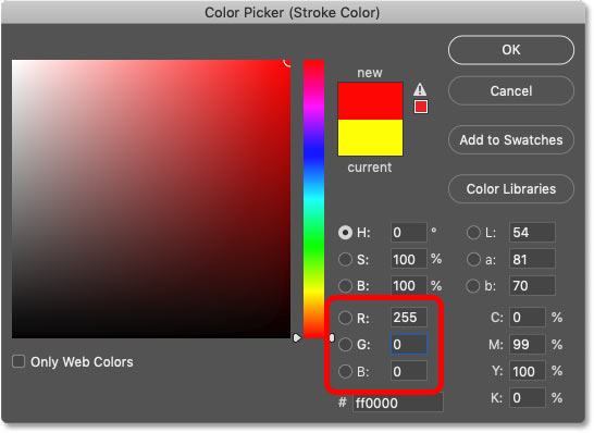 Setting the color of the sixth stroke to red in Photoshop's Color Picker