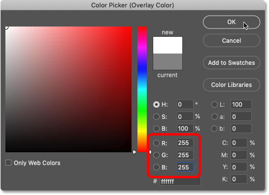 Choosing white from the Color Picker
