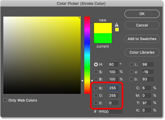 Setting the color of the fifth stroke to yellow in Photoshop's Color Picker