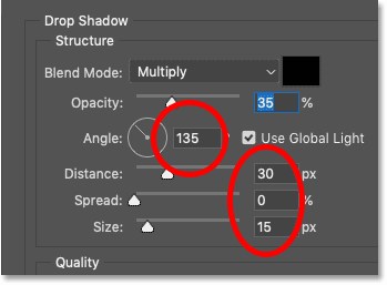 Setting the Drop Shadow's angle, distance and size in Photoshop's Layer Style dialog box