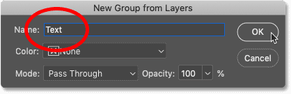 Naming the new group 'text' in the New Group from Layers dialog box