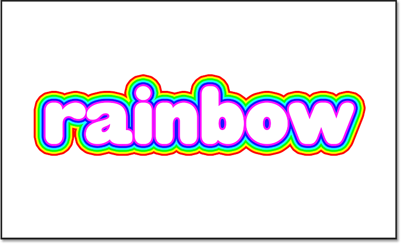 The rainbow color strokes around white text in Photoshop