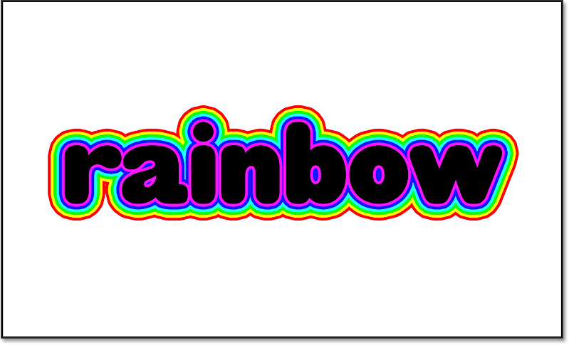 All six rainbow colored strokes around the text in Photoshop