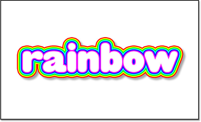 Rainbow strokes around text with a black Drop Shadow applied in Photoshop