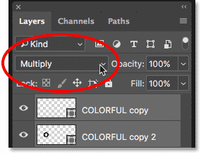 Changing the blend mode of the Shape layers to Multiply in Photoshop