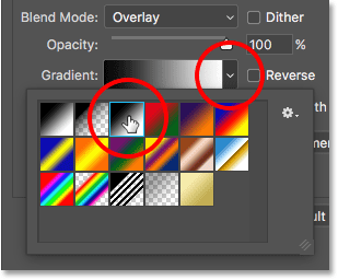 Choosing th Black, White gradient in the Gradient Overlay options in Photoshop