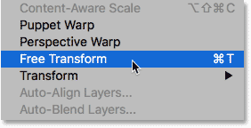 Choosing Free Transform from the Edit menu in Photoshop