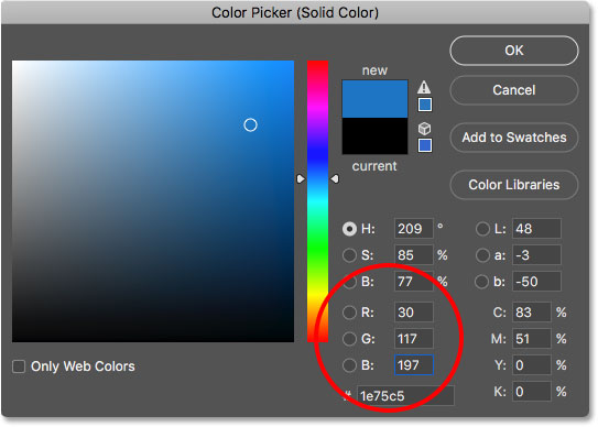 Choosing a light blue in the Color Picker for the first letter