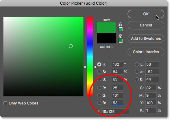 Choosing a light green in the Color Picker for the second letter
