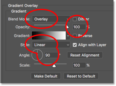 The Gradient Overlay options in the Layer Style dialog box in Photoshop