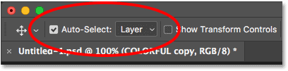 Turning on Auto-Select Layer for the Move Tool in Photoshop