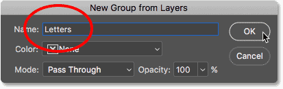 Naming the new layer group 'Letters'