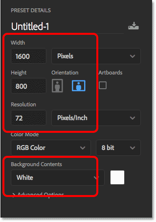 Setting the Width, Height, Resolution and Background Contents for the new Photoshop document