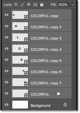 Selecting all the Shape layers at once in the Layers panel in Photoshop