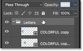 Selecting the Letters layer group in the Layers panel