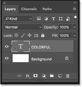 The text appears on a Type layer in the Layers panel in Photoshop